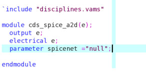 Example of cds_spice_a2d moule definition