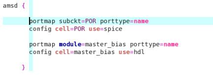 configuring POR as SPICE and master_bias as hdl