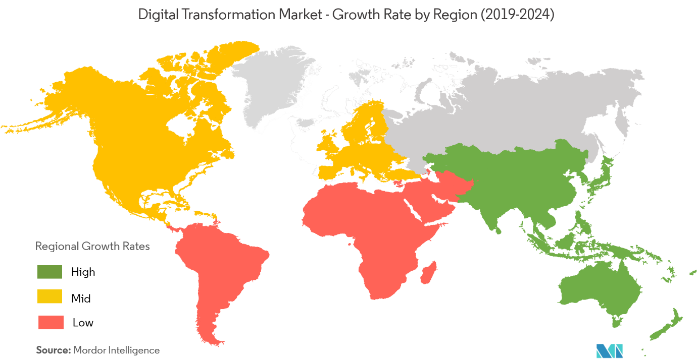 digital transformation market growth rate by region
