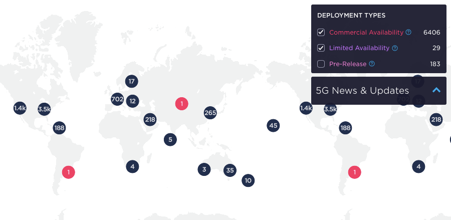 Figure 2: Ookla 5G Map November 2019