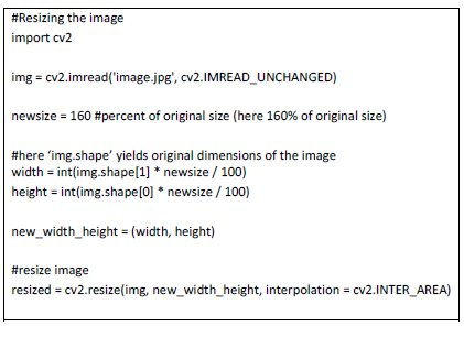 The code to resize the image is as follows