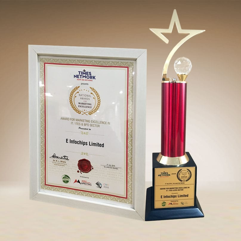 """Times Network presented eInfochips with """"Marketing Excellence Award 2018"""" in IT / ITES & BPO Sector"""