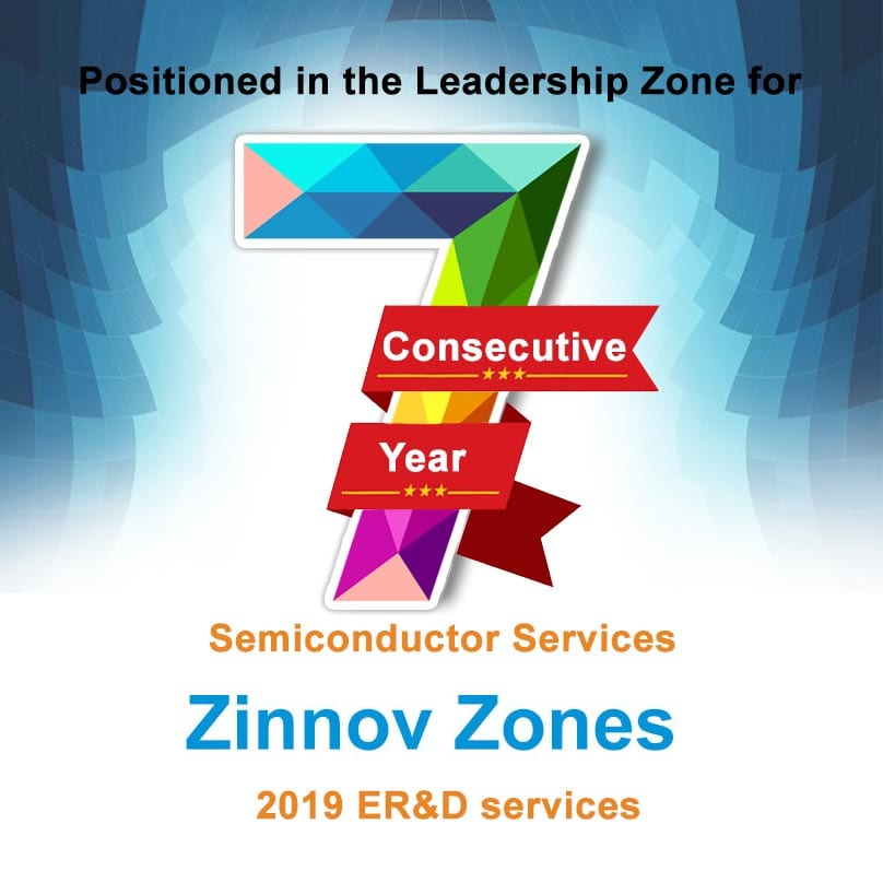 eInfochips Positioned in the Leadership Zone for the 7th Consecutive Year for Semiconductor Services in Zinnov Zones 2019 ER&D services.